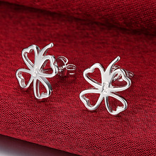 925 Silver Color Four-Leaf Clover Stud Earrings For Women Best Gift Wholesale High Quality Jewelry oorbellen zinc alloy rushed earing 2018 xionggui new arrival korean color rhinestones flower earrings piercing four leaf clover