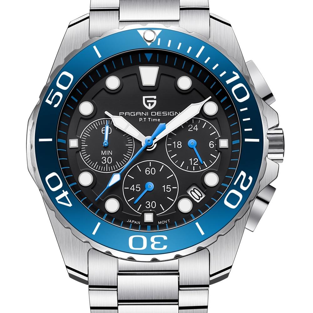a654c6e77745 Marca de lujo de alta calidad reloj de acero banda buceo deporte cuarzo  reloj militar moda