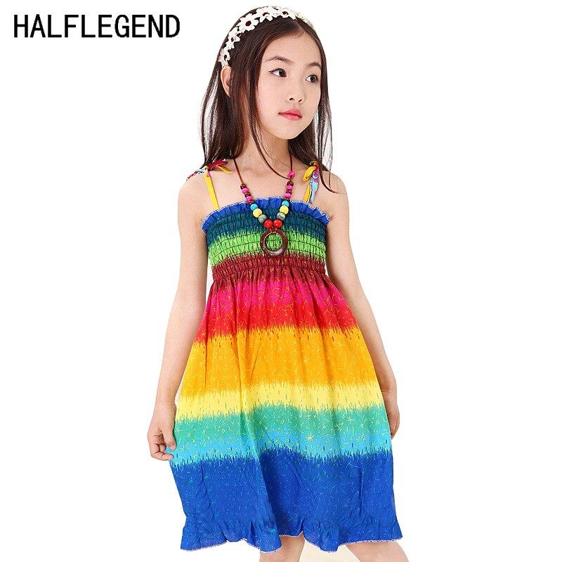 2017-New-Summer-Bohemian-Girls-Dress-Orange-Flower-Girls-Beach-Dresses-Princess-Dress-Cotton-dresses-for-girls-4-10-11-12-Years-1