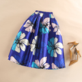 High Waist Midi Tutu Skirts 2016 Summer Autumn New Trendy Vintage Womens Dreamlike Blue Romantic Floral Print Skirt Faldas Mujer