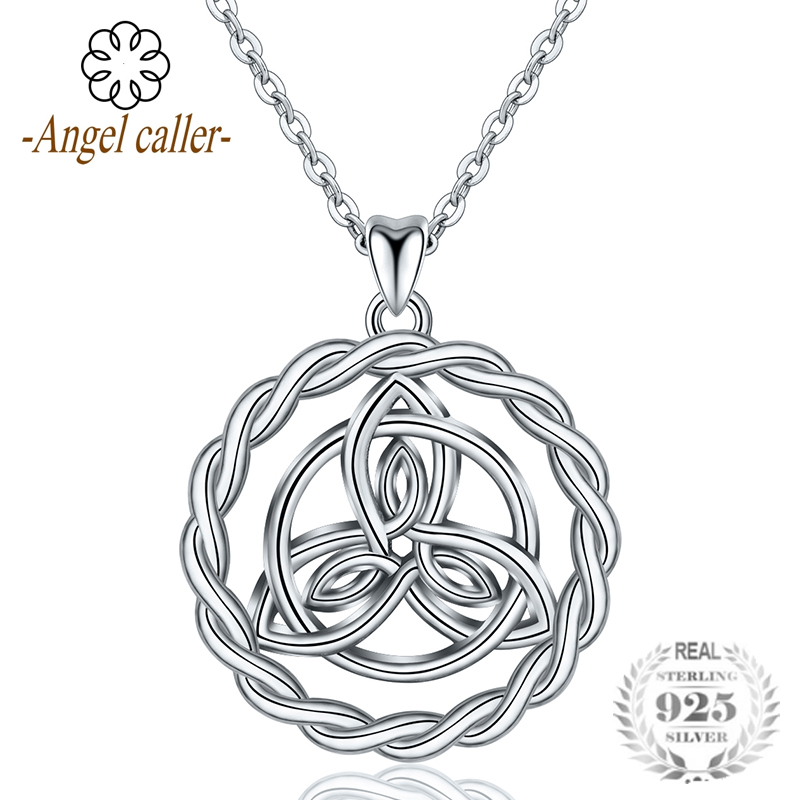 Angel Caller 925 Sterling Silver Round Celtics Trinity Knot Pendant Necklaces High Quality Fashion Necklace with Chain 18CYD123