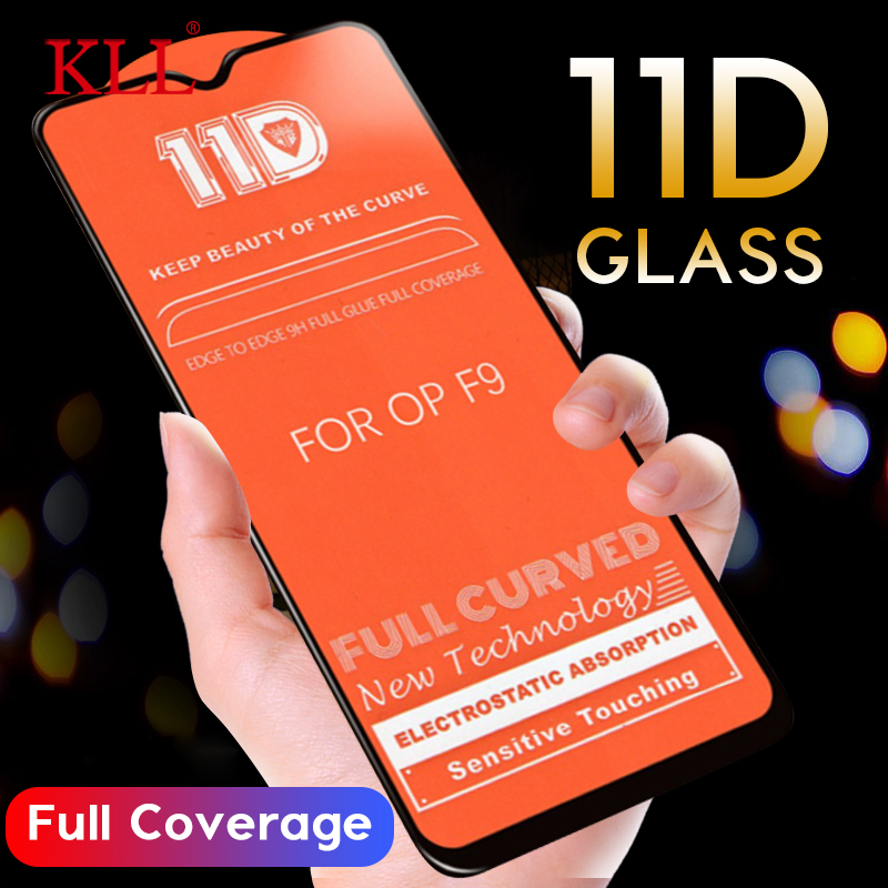 11D Curved Edge Tempered Glass For OPPO F11 F9 Pro F7 F5 K1 Full Cover Screen Protector For OPPO A7 A75 A5 A3 A3s R17 R15 Glass