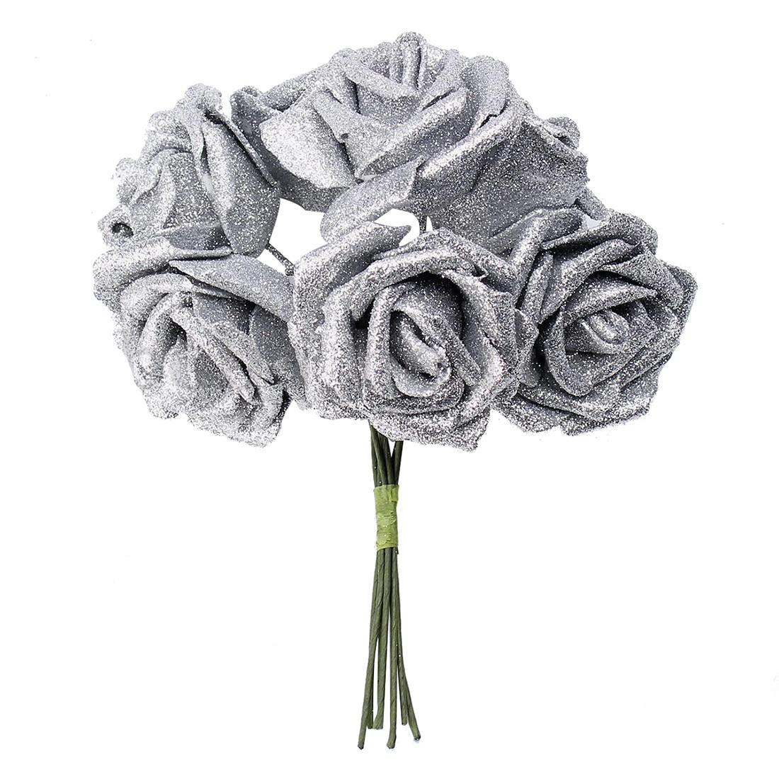 7 Foam Rose Artificial Flower Glitter Bridal Bouquet Home Wedding Decoration Silver