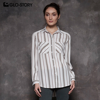 GLO STORY European Size Women 2018 New Long Sleeve Blouses Tops Feminina Wear To Work Loose Striped Shirts Tops with Pocket 7677