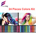 Professional Green/Gray/Pink/bigen/Coloured Hair Dye Crazy Color Hair Chalk Dye 24 Coloring Disposable Cream Pastels Salon Kit