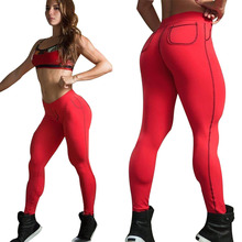 Nuevas mujeres fitness Sporting Leggings push up Workout gyming leggins de las mujeres bolsillo sliming elásticas hembra Pantalones