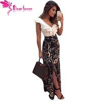 Dear Lover Estate Vestito Lungo Donne Eleganti Vestidos Largos Sweetheart Ruffle Partita Mix Top Maxi Dress Robe Longue Femme LC61274
