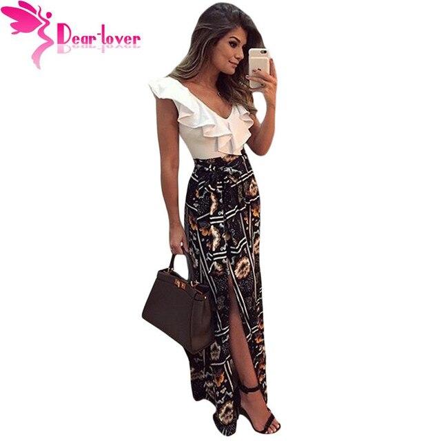 Dear Lover Long Dress Summer Elegant Women Vestidos Largos Sweetheart Ruffle Top Mix Match Maxi Dress Robe Longue Femme LC61274