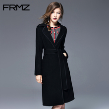 Фотография FRMZ Wool Black Coat Long Winter Overwear Women Sexy Winter Coats Belt Slim Overcoat Ladies Fashion Woolen Warm Blends