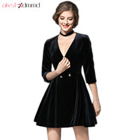 AKSLXDMMD Classic Black Dresses Women 2019 New Autumn and Winter Sexy V neck Dress Europe Velvet Party Dresses Vestidos LH1245