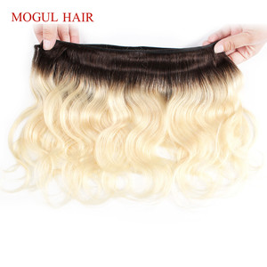 Image 5 - MOGUL HAAR 4/6 Bundels 50 g/stk 10 12 inch T 1B 27 Donkere Wortel Honing Blonde Braziliaanse Body Wave Niet remy Human Hair Bundels