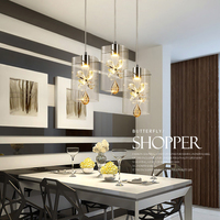 New nordic led pendant lights crystal + glass lamp contemporary 3 head pendant lighting simple lamp for bar dinging room AC220V