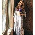 Pijamas Mulheres Outono/Inverno Longo Roupão De Banho Três-piece Margaridas Floral Robe Plus Size Algodão Adulto Sleepwear Solto Conjunto de pijama