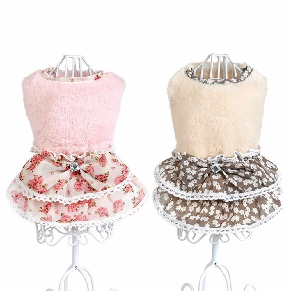 Платье-комбинация для собак и кошек, зимнее пальто, теплый свитер с камнем и бантом для щенка, юбка, одежда для питомца, юбки, платье для детей