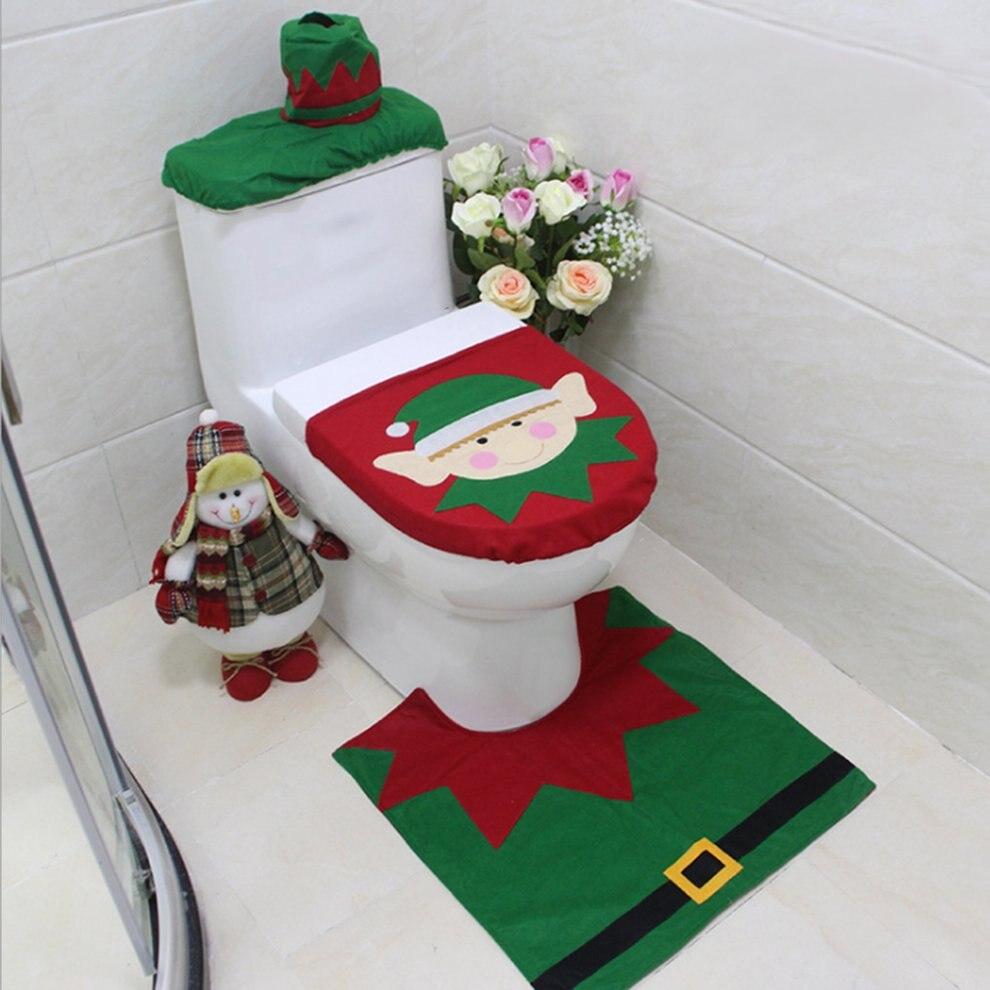 Pro 3 pcs/ensemble Décorations Pour La Maison Elf De Noël Cerfs Santa Claus Siège De Toilette Couvercle des Toilettes Couvercle Nouvelle Année De Noël De Noël ornements