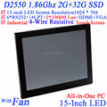 "High quality 15"" LED touch screen All-in-One pc with 2*RJ45 6*COM HDMI VGA 2G RAM 32G SSD Full metal jack Intel D2550 1.86Ghz"