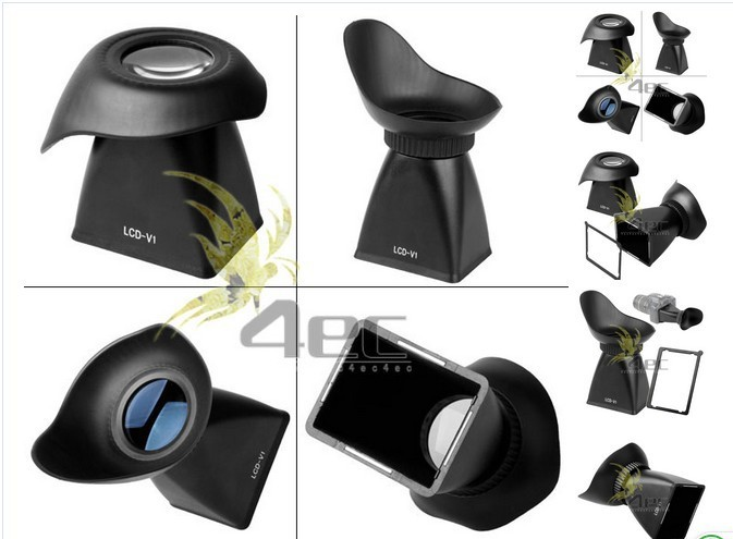 ФОТО 10pcs V5 LCD Viewfinder 2.8x Magnifier Extender Magnetic Hood for Canon 600D 60D