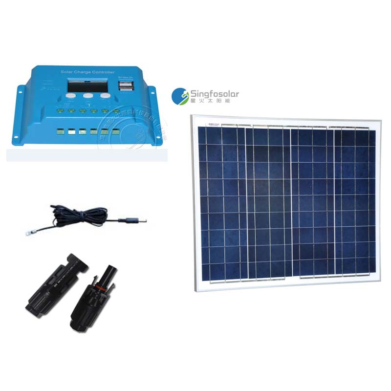 Kit Solaire Photovoltaic Panel 12V 50W  Solar Charging Controller 10A 12V/24V PWM Z Bracket PV Cable Solar Power System Camp