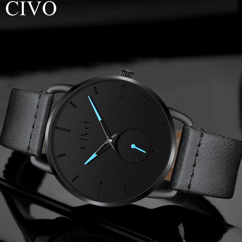 CIVO noir Top marque décontracté hommes montre affaires montres étanche en cuir Quartz montre-bracelet nouvelle mode Reloj Hombr