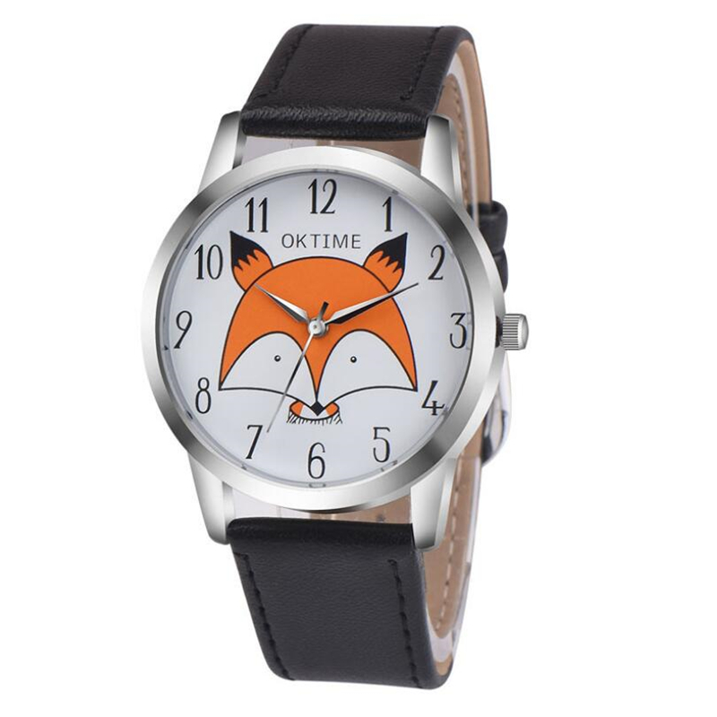 Unisex Simple Luxury PU Leather Watches Student Cartoon Quartz Wrist Watches Little Fox Pattern Men Ladies Couple Watch Clock