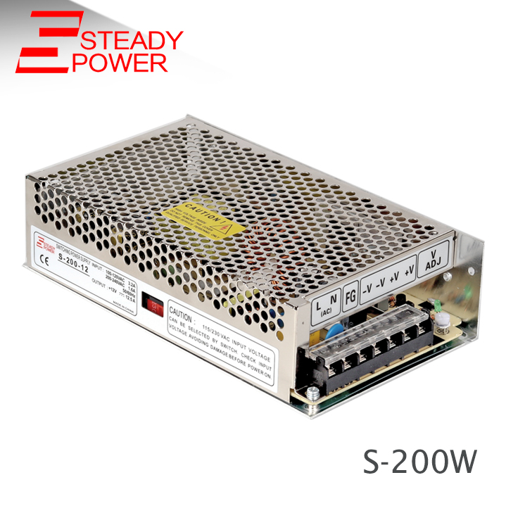 Metal case DC 12 volt power supply / 200w Switch 110/220V AC input power supply/ 12v 16.5a SMPS circuit S-200-12 led power supply switch 200w 12v 16 5a power supply unit ac dc converter s 200w 12v variable dc voltage regulator s 200 12