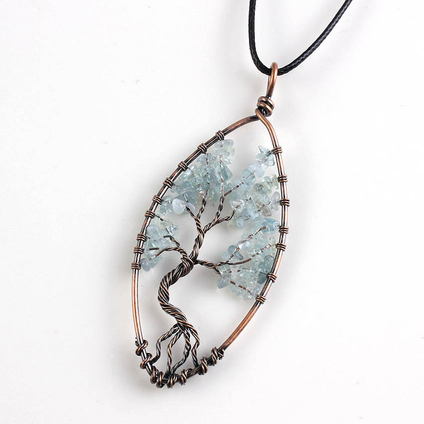 Kraft-beads Copper Marquise Tree of Life Pendant Blue Aquamarines Necklace With Rope Chain Fashion Jewelry
