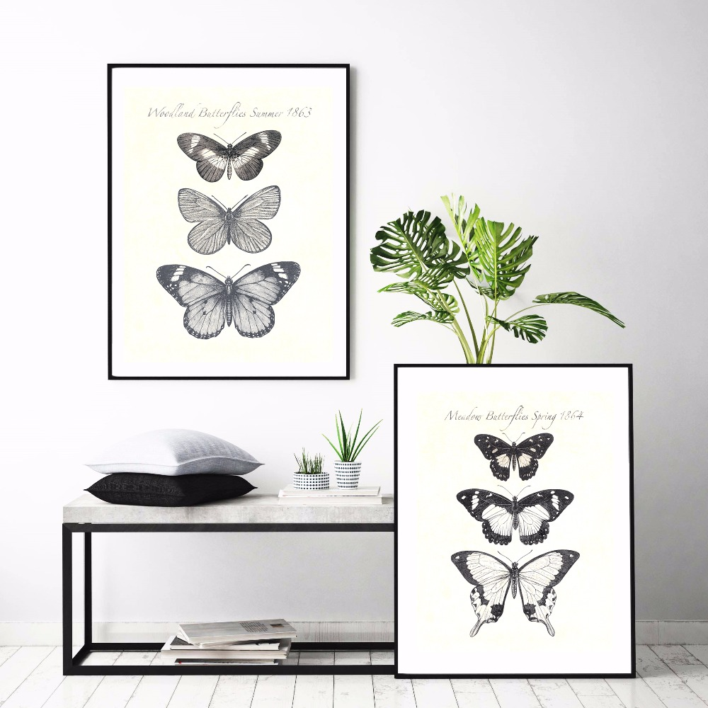 A pillangók növekedése Vászon művészeti nyomtatás Festmény - Lakberendezés - Fénykép 1