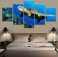 Modular Decor Home Decor Frame Modern Wall Pictures 5 Panel Sea Turtles For Living Room Home