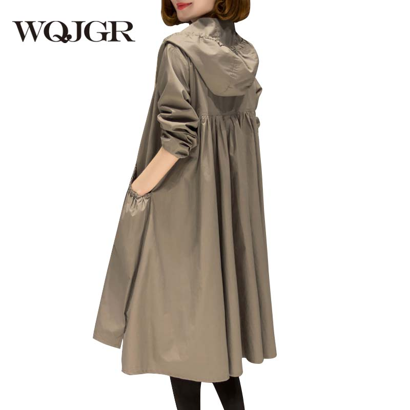 WQJGR  Womens Trench Coats Long Sleeve Hooded Loose Plus Size Windbreaker Plus Size High Quality Long Coat