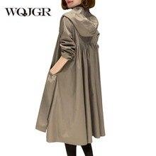 WQJGR  Womens Trench Coats Long Sleeve Hooded Loose Plus Size Windbreaker High Quality Coat