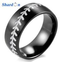 SHARDON Domed 8MM IP Black Titanium Baseball Ring with White Stitching Fan Sports Band wedding and engagement jewelry