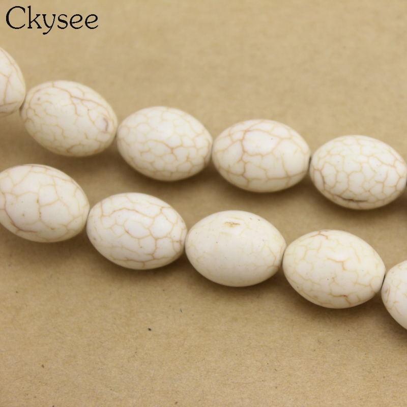 Ckysee Hot Sale 1 Strand Oval Stone Beads Accessories DIY Beads for Jewelry Making Bracelets Necklace