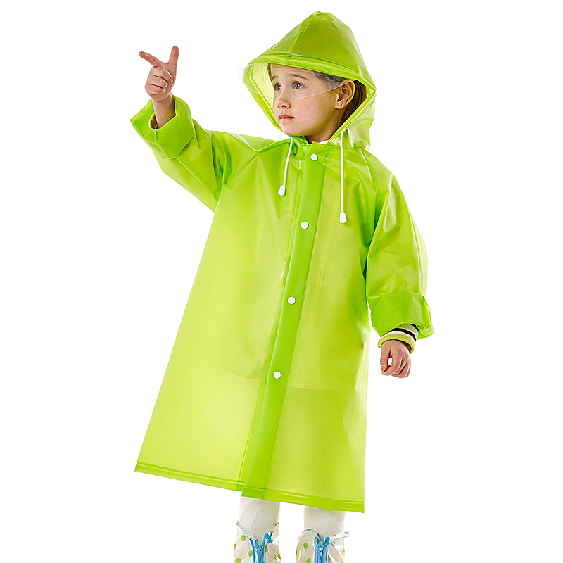 Yuding Girls Boys Kids Raincoat EVA Portable Raincoat Poncho With Hood&long Sleeve For Travel Outdoors&Front Snap Button