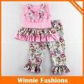 Envío Libre del Diseño Floral Niñas Precioso Conjunto Rosa Sin Mangas Del Verano Ropa de la Camiseta + Pantalones Niños Niñas Juegos de Ropa 4 colores