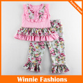Free Shipping Floral Design Girls Lovely Set Pink Sleeveless Summer Clothing T Shirt+ Pants Kids Girls Clothing Sets 4 Colors