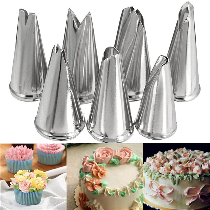 7 Pcs/lot Decorating Tip Set Leaves Cream Metal Stainless Steel Icing Piping Nozzles Cake Cupcake Pastry Tools