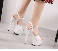 Sandals Shoes Woman Clear Heels Platform 2019 Beach Sexy Sandals Wedding Shoes Steel Tube Dancing Girl Stripper Shoes Open Toe(China)