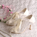 Wedopus MW869 Custom Handmade Ivory Lace Heel Wedding Shoes Bride Closed Toe 8CM