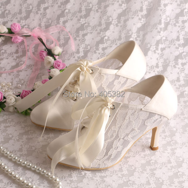 b9e38364b4 US $49.99 |Wedopus MW869 Custom Handmade Off White Lace Heel Wedding Shoes  Bride Closed Toe 8CM-in Women's Pumps from Shoes on Aliexpress.com | ...