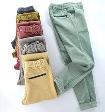New women's corduroy plus velvet trousers thickening corduroy elastic waist plus size casual pants women' elastic pencil pants