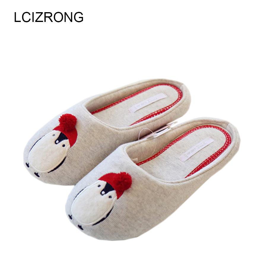 Cotton Cute Slippers Women Penguin Animal Home Slippers Indoor Shoes Bedroom House Adult Guest Warm Winter Soft Flats Ladies cute sheep animal cartoon women winter home slippers for indoor bedroom house warm cotton shoes adult plush flats christmas gift