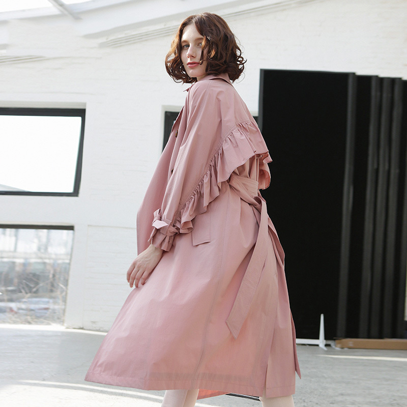 High Grade women overcoat 2019spring personality design flounced coats lady Korean   trench   loose outwear khaki   trench   coat female