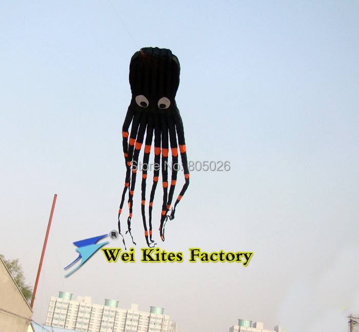 free shipping 8m octopus kites flying toy with handle Soft Kites lines kitesurf kite round children kite sale wholesale