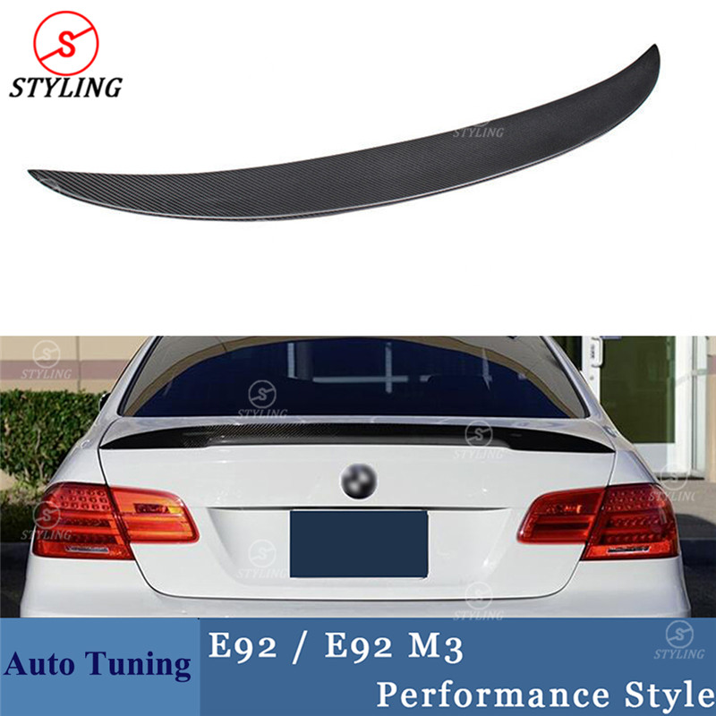 For BMW E92 Carbon Fiber Spoiler P Style 3 series E92 & E92 M3 Carbon Fiber rear spoiler Rear trunk wing Coupe 2-door 2005 -2012 autumn winter beanie fur hat knitted wool cap with silver fox fur pompom skullies caps ladies knit winter hats for women beanies