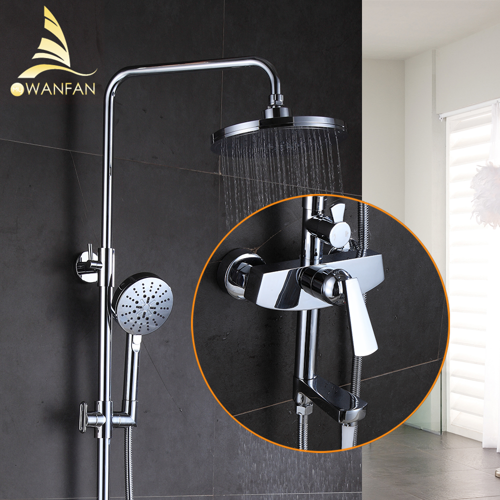 Shower Faucet Brass Chrome Wall Mounted Bathtub Faucet Rain Shower Head Round Handheld Slide Bar Bathroom Mixer Tap Set 877010 bathtub faucets antique brass bath rain shower faucet head and handheld shower faucet 2 handel bathroom wall mounted tap lj10119