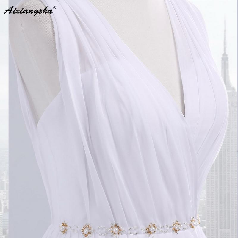 Dress Bride Ivory Chiffon Open Back 2017 Greek Style Vestidos Wedding Dress Sleeveless Floor Length Sexy Wedding Dress 1