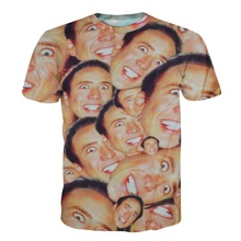 2017 Hot Fashion Nicolas Cage Crazy Funny Print Stare At You 3d T-shirt For Men Women Casual 3d Top Tees Plus Size S-5XL R2471