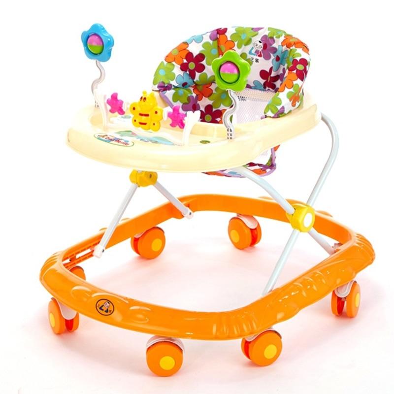 Baby Walker Anti Rollover Baby Walker with Wheels Cartoon Style Durable Baby Children Activity Adjustable Music Walkers 4 Colors