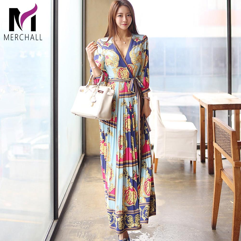 Elegant Cross V Neck Sashes Long Dress Women 2019 Summer Holiday Vintage Print Pleated Dresses Waist Swing Ankle-length Vestidos