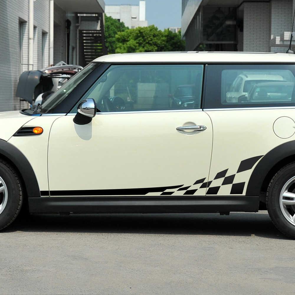 2 قطعة من سيارة التصميم سباق شعرية الباب الجانب شريط تنورة الجسم ملصقات مصورة ل BMW ميني كوبر R56 اكسسوارات- 9 الألوان